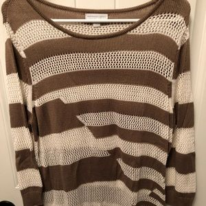Tan and Cream striped sweater XL